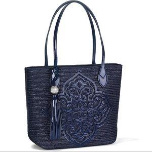 Brighton Navy Straw and Patent Leather Handbag